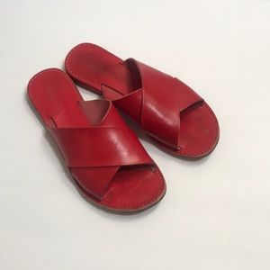 Sundance red leather sandals